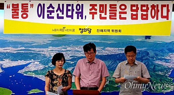 정의당 진해지역위원회는 8월 13일 창원시청 브리핑실에서 기자회견을 열어 '이순신 장군 타원' 반대 입장을 냈다.