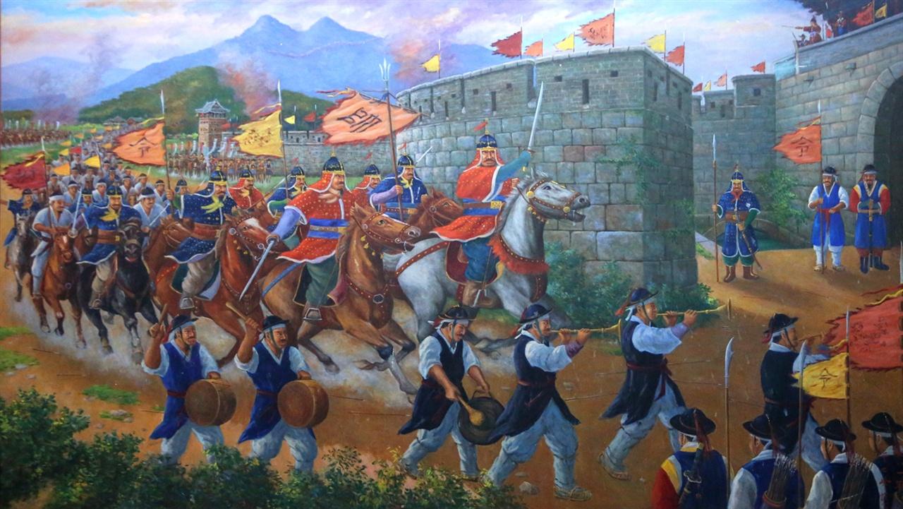 남원성 전투에서 당당하게 일본군을 대항하며 성안으로 들어가는 모습의 벽화