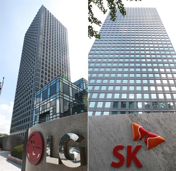 서울 영등포구 여의도동 LG화학 본사가 위치한 LG 트윈타워(왼쪽 사진)와 종로구 서린동 SK 이노베이션 본사가 위치한SK빌딩(오른쪽 사진).