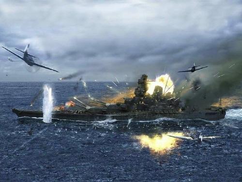 공격을 받아 침몰하는 전함 야마토
