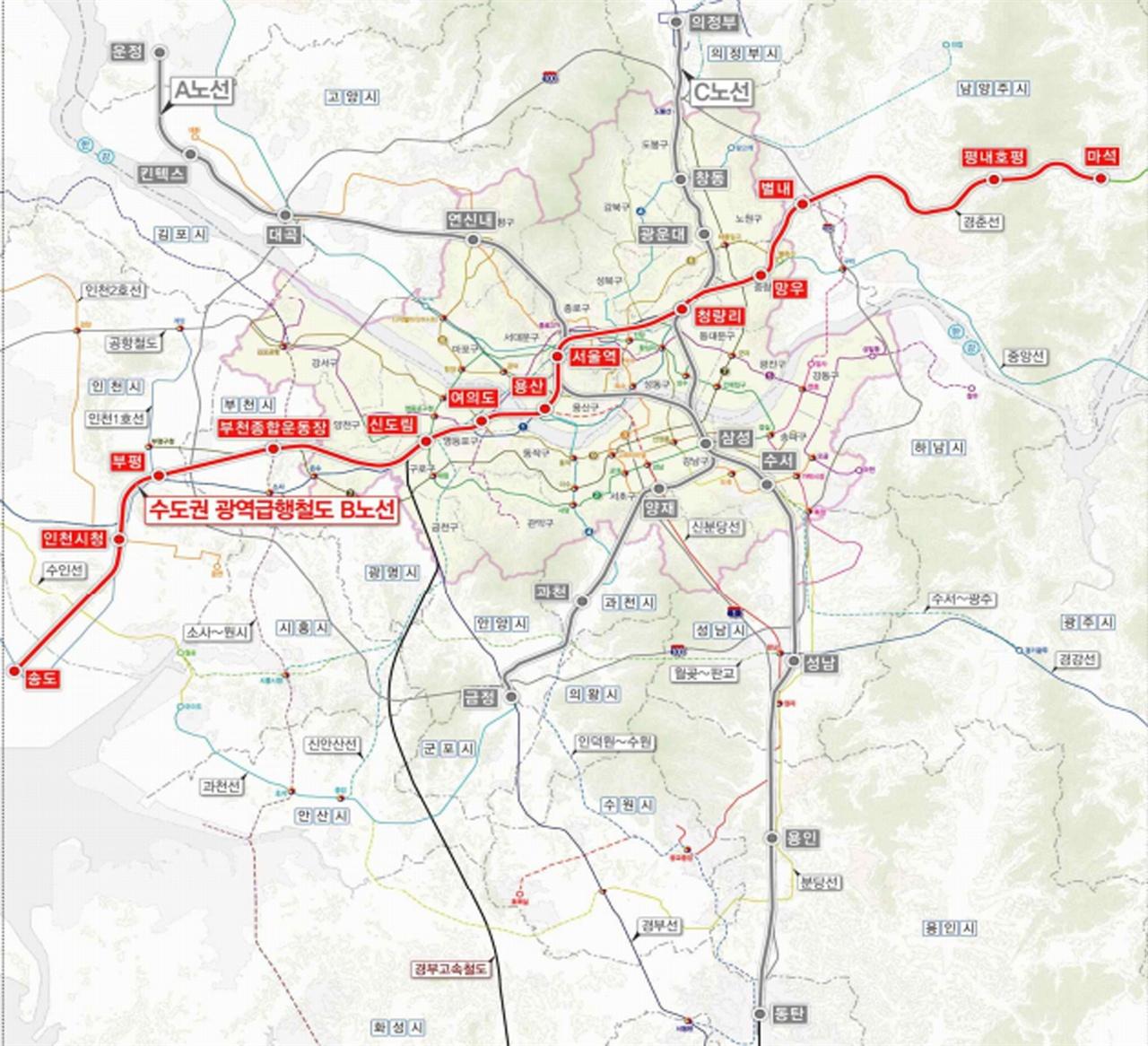 기획재정부 재정사업평가위원회 예비타당성 조사를 통과한 수도권광역급행철도(GTX) B노선