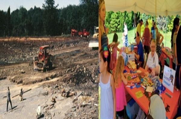 코네티컷의 공룡발자국 화석과 지역민들 ▲ 좌(바위 채석장에서 발견된 공룡발자국 화석), 우(공룡주립공원의날은 지역민의 작은 축제로 활용되고 있다)