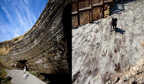 국가 지질공원 좌(제주도 수월봉), 우(무등산 권 지질공원의 화순 서유리 공룡발자국 화석산지)
