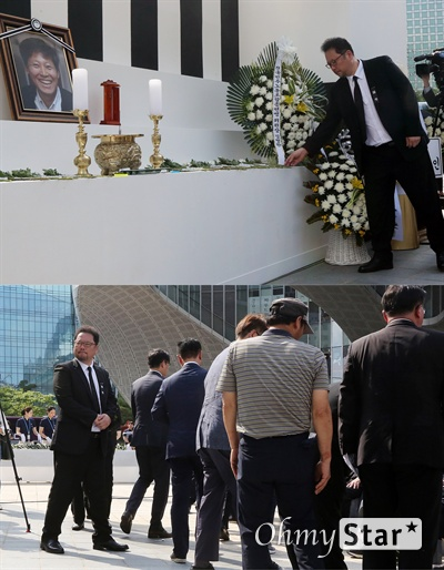 박성제 기자, 떨어지지 않는 발걸음 23일 오전 서울 상암동 MBC 앞 광장에서 열린 <참 언론인 고 이용마 기자 시민사회장>에서 박성제 기자가 헌화한 뒤 고인의 영정을 바라보고 있다.