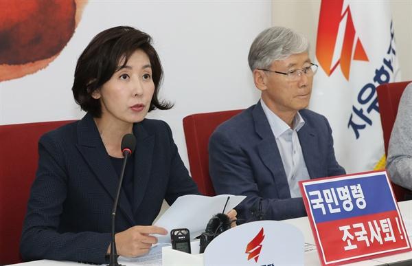 자유한국당 나경원 원내대표가 25일 오후 국회 원내대표실에서 열린 조국 인사청문회 대책TF회의에서 발언하고 있다.