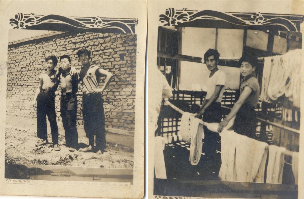 염색 공장 노동자로 일하던 20대 초반의 아버지(맨 왼쪽)