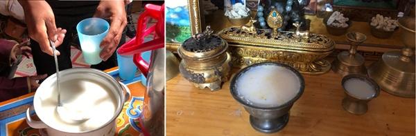 몽골 사람들은 게르에 찾아온 손님들에게 마유주나 차를 대접합니다. 게르 안에 있는 불단에도 차나 마유주를 제물로 올려놓습니다.