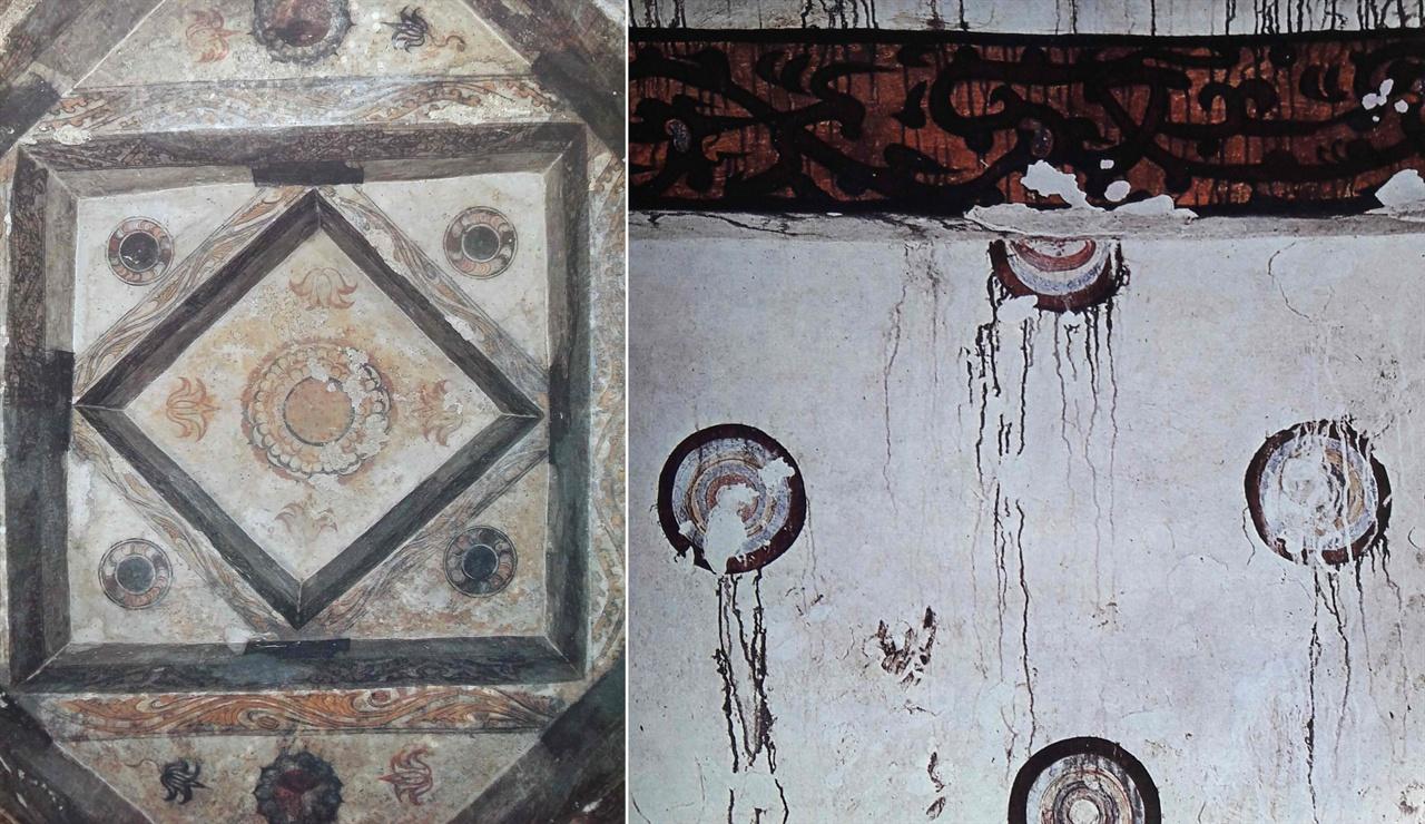 〈사진165〉 안악 제2호 무덤 천장벽화, 〈사진166〉 환문총 벽화  〈사진165〉 안악 제2호 무덤 천장벽화. 황해남도 안악군 대추리 상지마을. 5세기 말 6세기 초. 〈사진166〉 환문총 벽화. 중국 길림성 집안시 태왕향 하해방촌. 5세기.