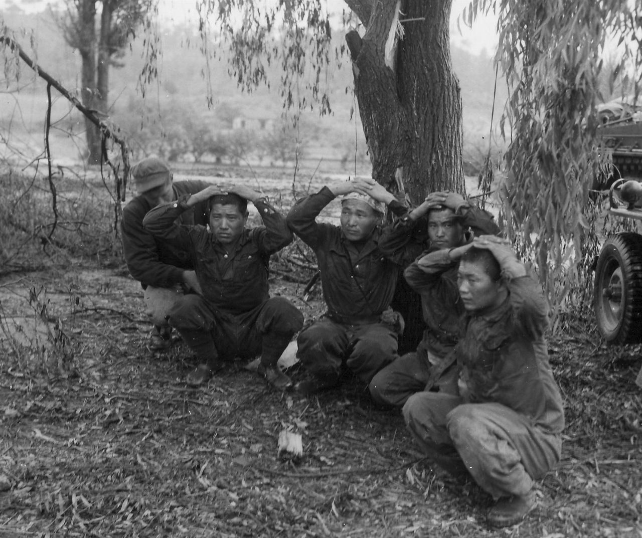 체포돼 머리에 손을 얹고 있는 인민군 포로들(1950. 9.).