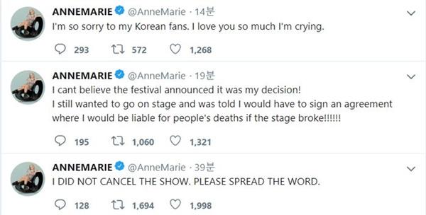 홀리데이랜드 페스티벌에서의 공연이 취소되자, 앤 마리는 곧바로 트위터에 자신의 입장을 적어 올렸다.