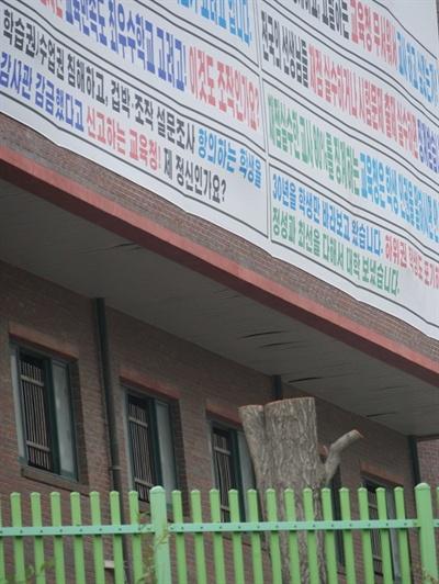 26일 K고 교문 우측 담장 쪽 건물에 걸린 현수막과 그 일대 나무들이 베어진 모습.