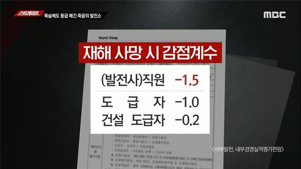 발전사 직원과 하청업체 직원의 목숨 값이 달랐다고 지적한 MBC(8/19)
