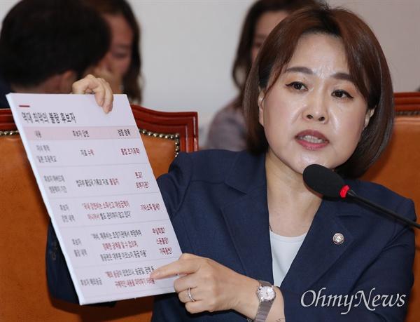자유한국당 송희경 의원이 30일 오전 국회에서 열린 이정옥 여성가족부 장관 후보자 인사청문회에서 후보자의 자격미달을 주장하고 있다.
