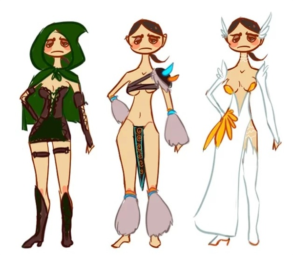 (궁수도,  야만 전사도, 힐러도 모두 신체 일부를 노출해야  하는 여성 캐릭터의 현실. 사진: https://repair-her-armor.tumblr.com)