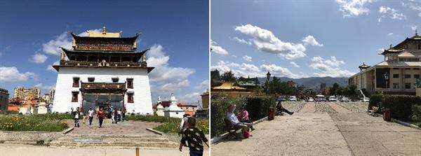 몽골에 남아있는 가장 큰 불교 간등 사원입니다. 오른쪽 사진을 간등 사원에서 바라본 시가지입니다. 간등 사원 안에는 관세음보살상 입상(26.5m)이 서있습니다.