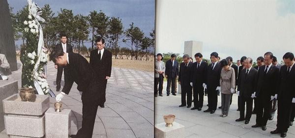 (왼쪽) 2007년 3월 2일, 이명박 대통령 후보가 4·3평화공원을 방문 헌화하는 모습. (오른쪽) 2012년 8월 1일, 박근혜 대통령 후보가 4·3평화공원을 방문해 단체로 헌화한 후 묵념하는 모습. <전시 도록에서>