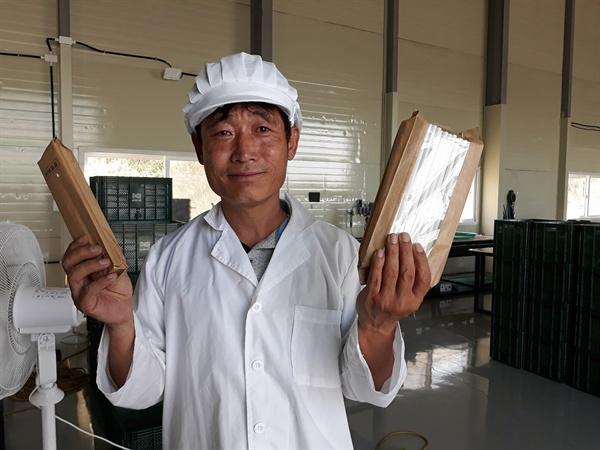 한지만 대표는 '우뭇가사리를 활용한 친환경 빨대'와 '친환경종이용기' 특허를 획득, 플라스틱을 대체할 친환경 제품 생산에 노력하고 있다.