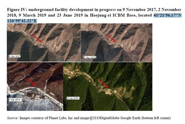 북한 회정리 ICBM 미사일기지 (뉴욕=연합뉴스) 북한이 2017년 말 이후 핵실험과 대륙간탄도미사일(ICBM) 시험 발사를 중단하고 있음에도 불구하고 핵·미사일 프로그램 개선(enhance) 작업을 지속하고 있다고 유엔이 지적했다. 또 북한이 해상에서 선박 간 불법 환적을 통해 정제유나 석탄을 밀거래하는 등 제재 회피 행위를 지속하고 있으며, 전 세계 금융기관과 가상화폐거래소 등에 대한 사이버 해킹으로 최대 20억달러(약 2조4천억원)를 탈취했다는 평가도 나왔다. 사진은 북한 회정리 ICBM 미사일기지. 2019.9.6 [유엔 대북제재위 보고서 캡처=연합뉴스.재배포 및 DB 금지]