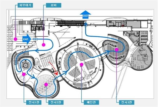 박람회 당시 홍보물에 소개된 주제관 전시관 내부 안내도와 동선