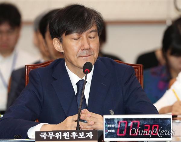 인사청문회 출석한 조국 후보자 조국 법무부장관 후보자가 6일 오전 국회 법사위에서 열린 인사청문회에 출석하고 있다.