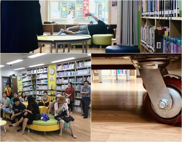 논골 도서관 논골 도서관 책장에 달린 바퀴는 무엇이든 가능하게 하려고 고민하는 열린 마음의 상징이다.