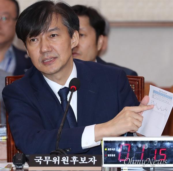 조국 법무부 장관 후보자가 6일 국회 법제사법위원회에서 열린 인사청문회에 출석해 의원들의 질의에 답변하고 있다.