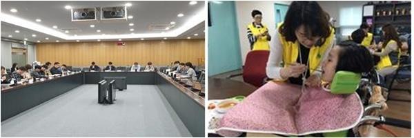 서울시가 10일 전국 최초로 지원 사각지대에 있는 뇌병변장애인과 가족을 위한 마스터플랜을 내놓았다. 왼쪽 사진은 3~6월 실시된 TF회의 모습.