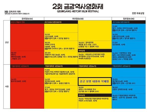 서천미디어문화센터가 <김군> 상영을 삭제시키고 올린 상영시간표