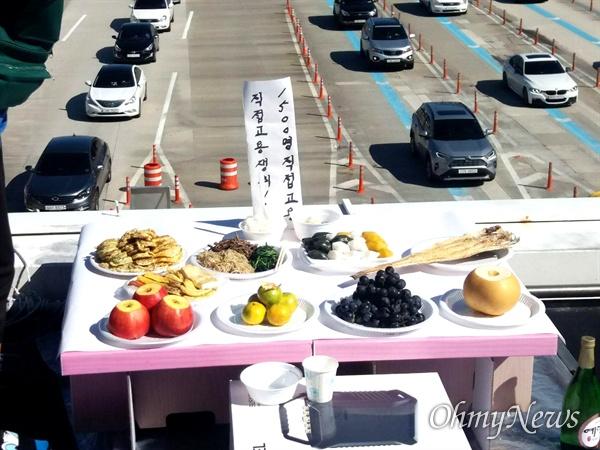 경부고속도로 서울요금소 지붕에서 고공농성하고 있는 요금수납원들은 13일 추석 차례를 지냈다.