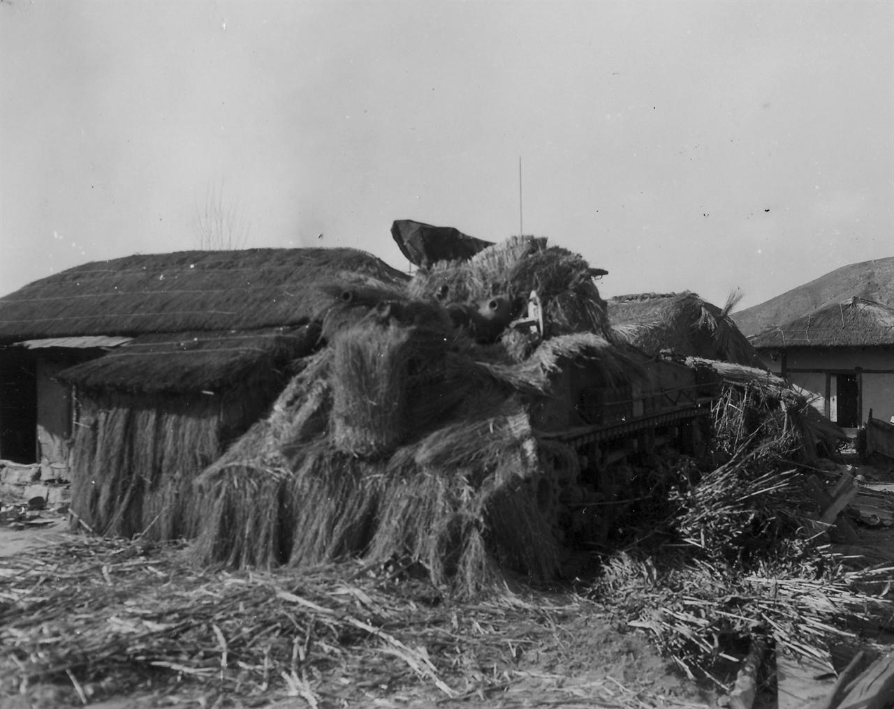 안동, 짚으로 덮어 위장한 탱크(1951. 2. 7.).
