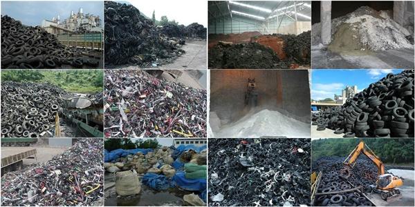 시멘트 공장에 가득 쌓여 있는 쓰레기들이다. 이런 쓰레기로 시멘트가 만들어진다.