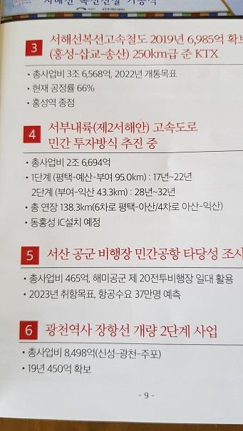홍문표 의원이 지난 추석 직전 예산 홍성 주민들에게 우편으로 배포한 의정보고서.