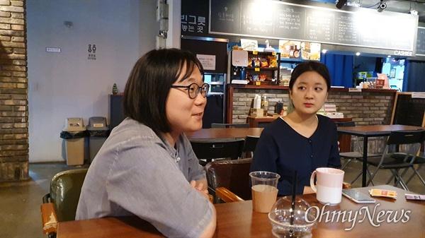 지난 7일 오후, 연남동 인근에서 대학거부자 3인을 만나 인터뷰를 나눴다. 좌측부터 투명가방끈 활동가 공현, 그리고 피아다.