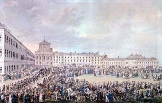 빈 슈바르츠슈파니어 하우스 앞의 베토벤 장례 행렬(프란츠 크사버 슈퇴버,1827,베토벤하우스)