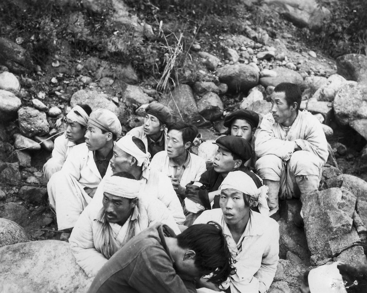 부역 혐의가 짙다며 체포된 주민들(1950. 11. 4.).