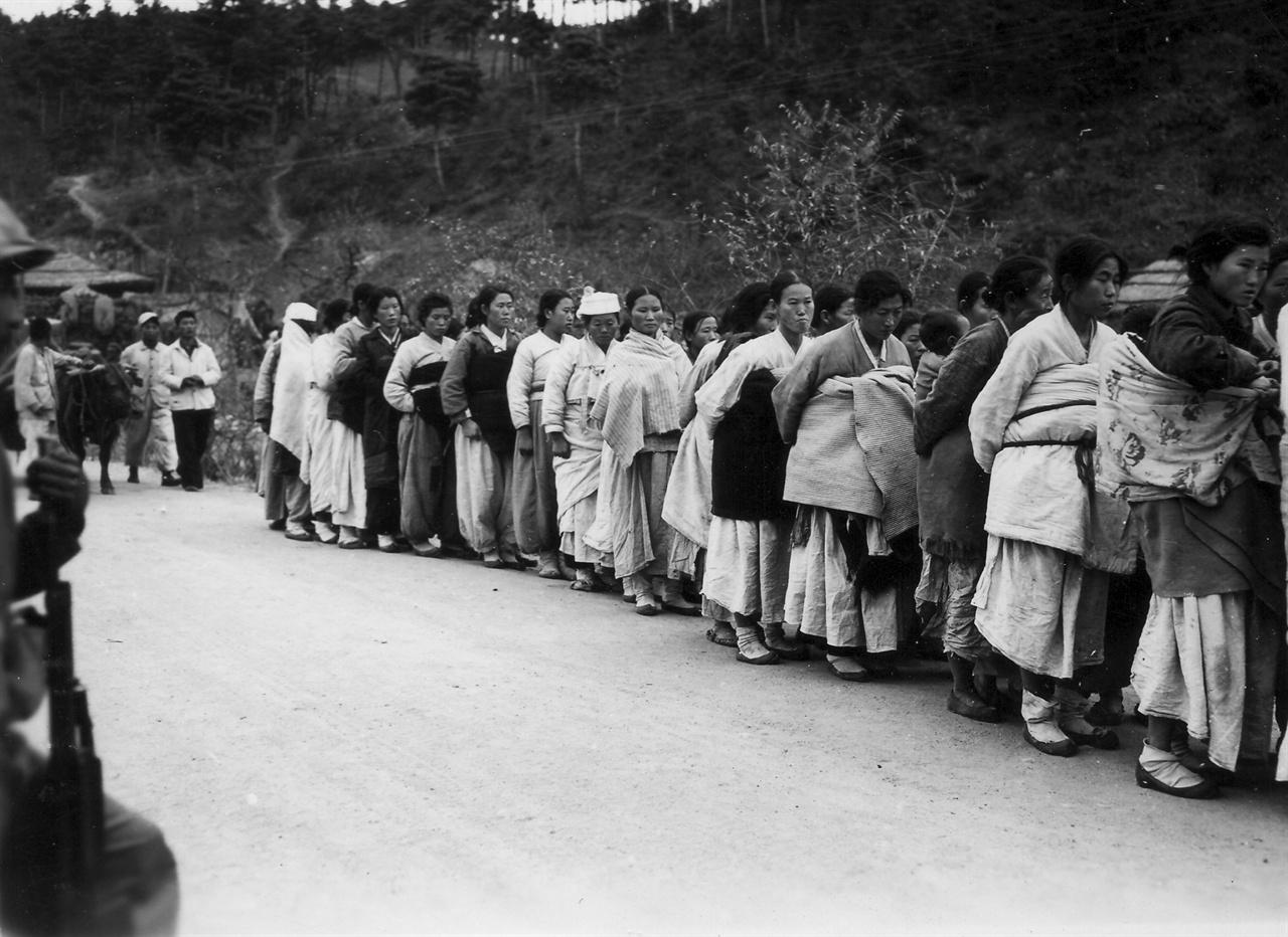 유엔군이 주민 가운데 인민군 부역 혐의자를 찾고 있다(1950. 11. 7.).