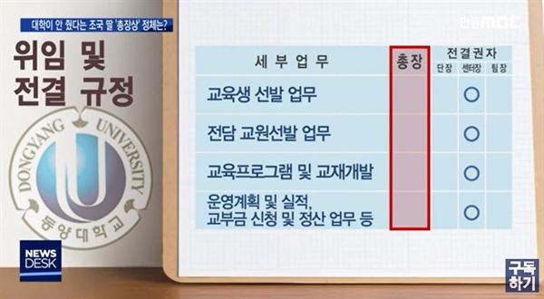 지난 5일 안동 MBC가 보도한 <대학이 안 줬다는 조국 딸 '총장상' 정체는?>의 한 장면
