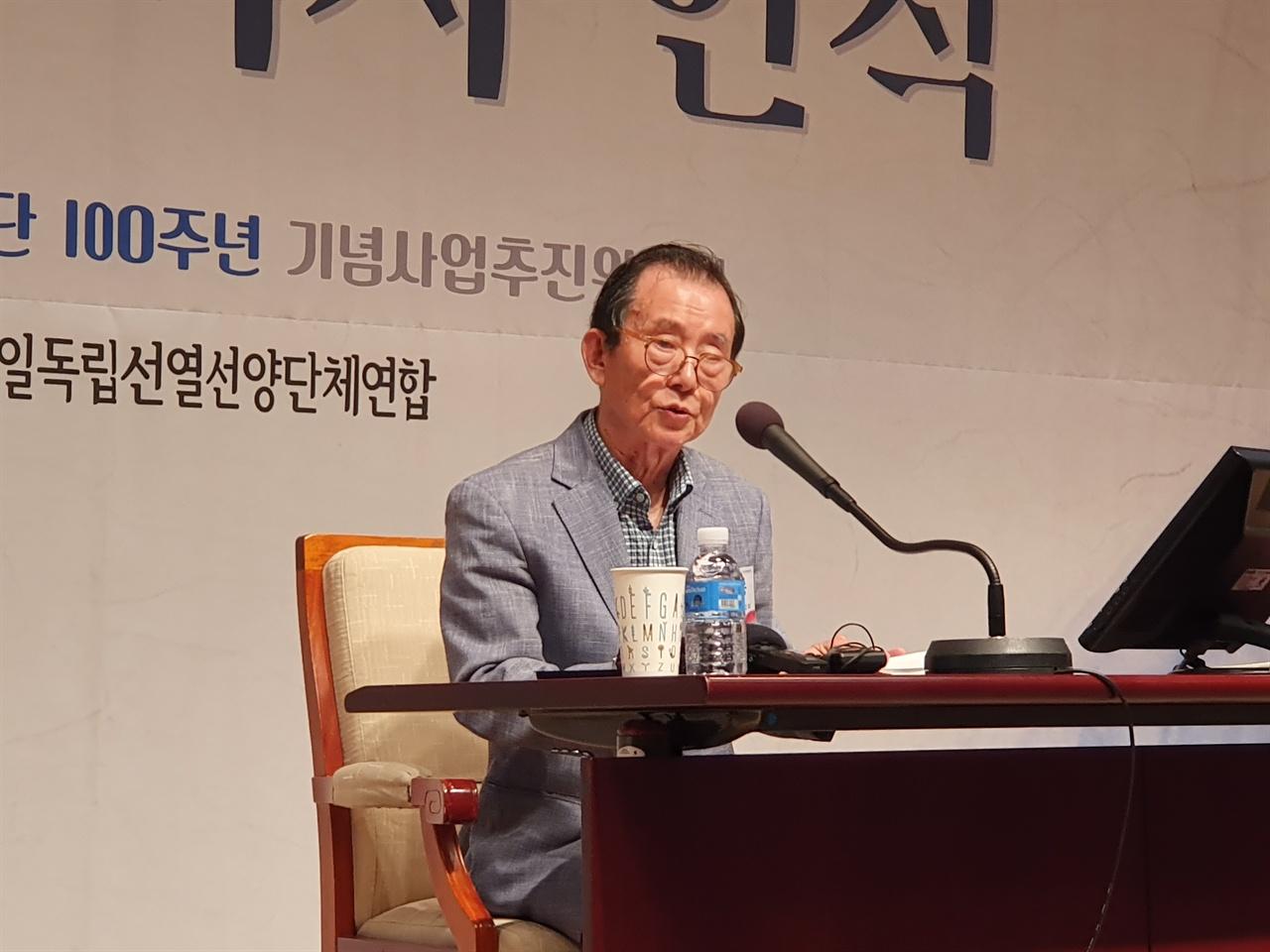 발언하고 있는 김삼웅 신흥무관학교기념사업회 공동대표