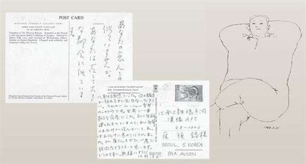 사노 요코가 보낸 엽서, 사노 요코가 최정호를 담은 그림
