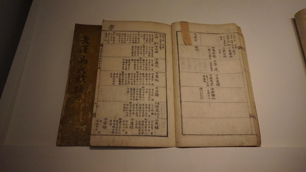 족보 기록으로 남아 있는 가장 오래된 족보는 1423년 작성된 <문화 유씨 영락보(永樂譜)>인데, 현재 전하지 않는다. 현존하는 족보 중 가장 오래된 것은 1476년 쓰인 <안동 권씨 성화보(成化譜)>다. '족보'를 중시하다 보니 다른 나라와 달리 도서관이 '족보'를 구비하거나 '족보자료실'을 따로 운영하는 사례도 있다. 사진은 장택 고씨의 족보다.