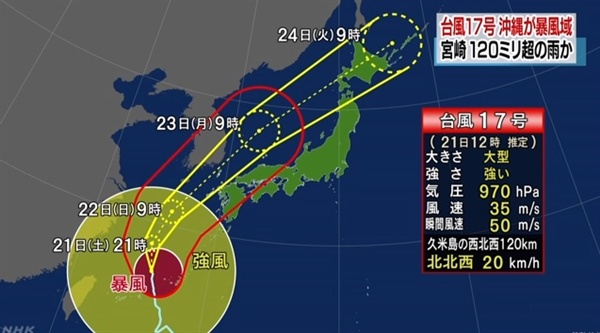 제17호 태풍 '타파'의 예상 경로를 보도하는 일본 NHK 뉴스 갈무리.