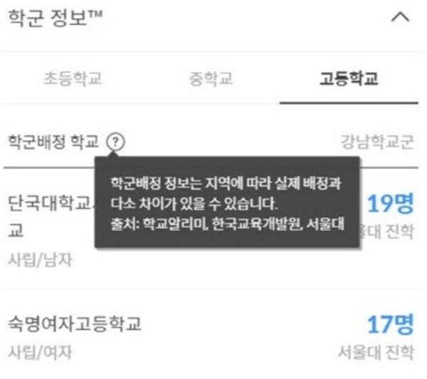 다음부동산 '서울대 진학자 수' 삭제 전 모습.