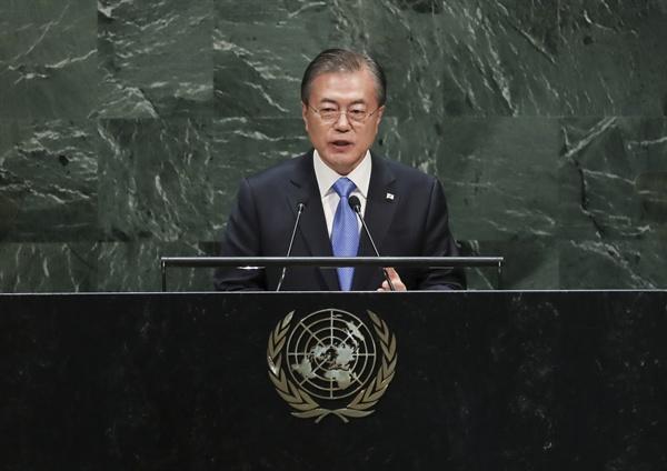 문재인 대통령이 24일 오후(현지시간) 뉴욕 유엔 총회장에서 기조연설을 하고 있다. 2019.9.25