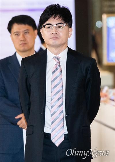 한동훈 검찰 반부패강력부장이 25일 오전 인천 파라다이스 호텔에서 열린 마약류퇴치국제협력회의에 참석하고 있다.