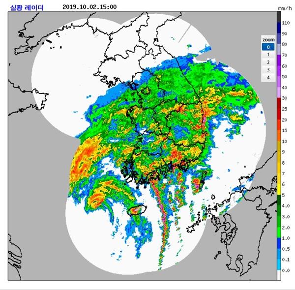 한반도를 향하는 태풍 미탁의 영상. 2일 오후 3시경 모습이다.