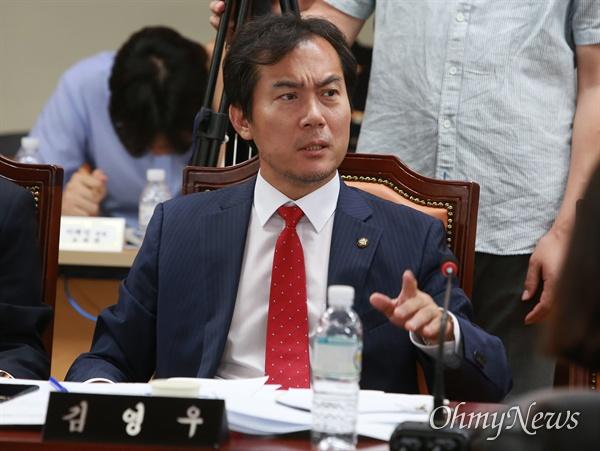 김영우 자유한국당 의원이 4일 오후 서울 서대문구 경찰청에서 열린 국회 행안위 국정감사에서 발언하고 있다.