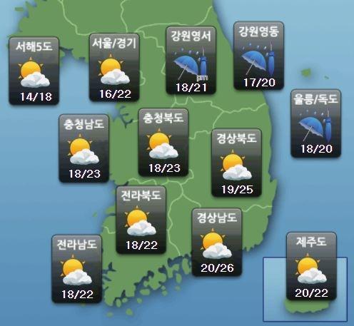 주요 지역별 토요일 날씨 전망