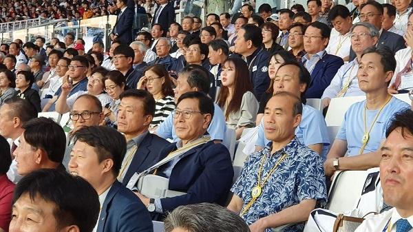 관람객 4일 서울 잠실주경경기장에서 열린 제100회 전국체육대회개회식에 참석한 관람객들이다.