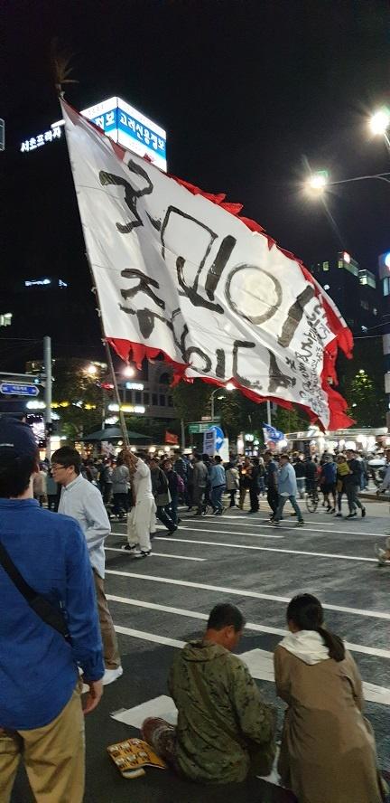 '국민이 주인이다'라는 대형 깃발 이런 집회 현장에는 기발한 집회 물품들이 등장하는데, 대형 깃발을 들고 교대역 6번 출구 앞에서 집회 내내 펄럭이고 있다.