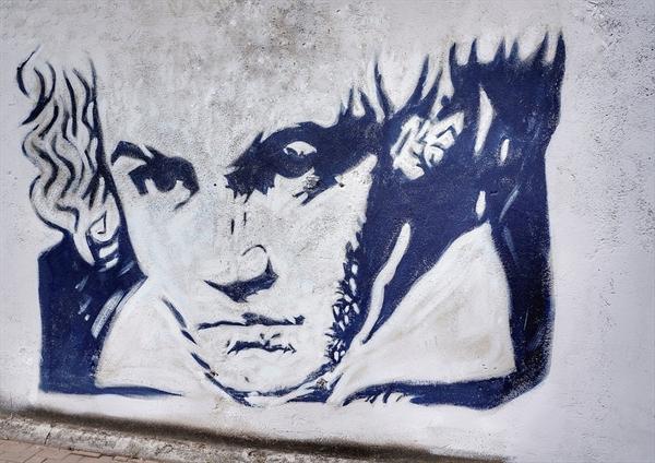 베토벤 얼굴을 그린 벽화.